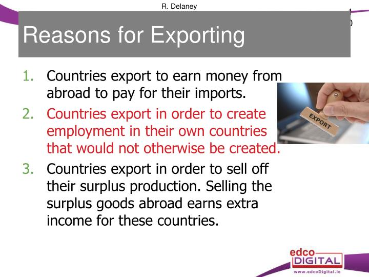 Reasons for Exporting