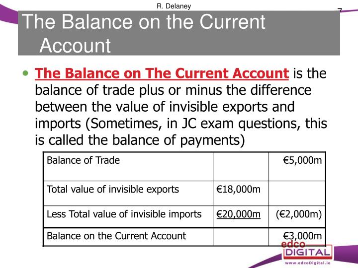 The Balance on the Current Account