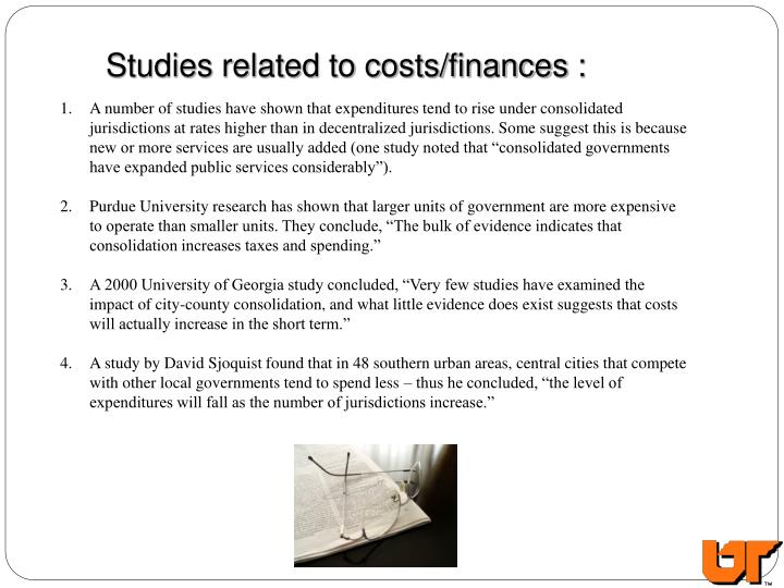 Studies related to costs/finances :