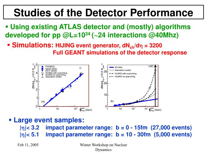 Studies of the Detector Performance
