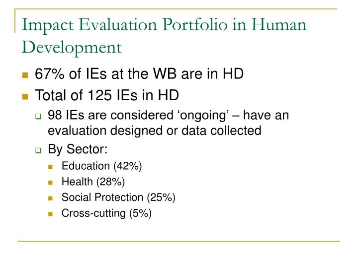 Impact Evaluation Portfolio in Human Development