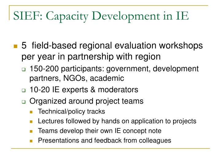 SIEF: Capacity Development in IE