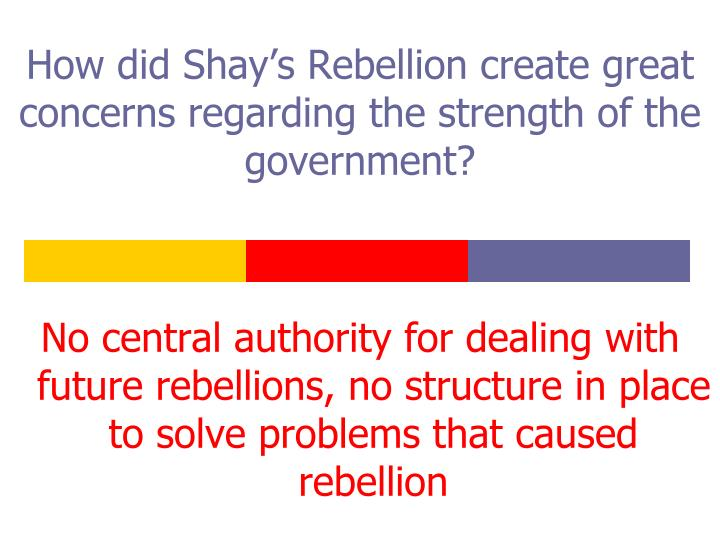 How did Shay's Rebellion create great concerns regarding the strength of the government?