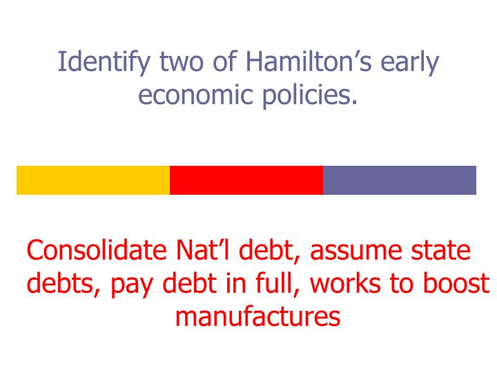 Identify two of Hamilton's early economic policies.