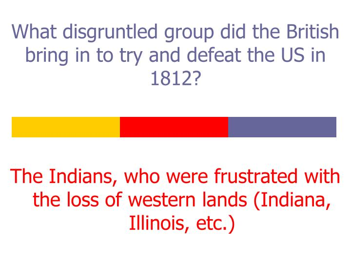 What disgruntled group did the British bring in to try and defeat the US in 1812?