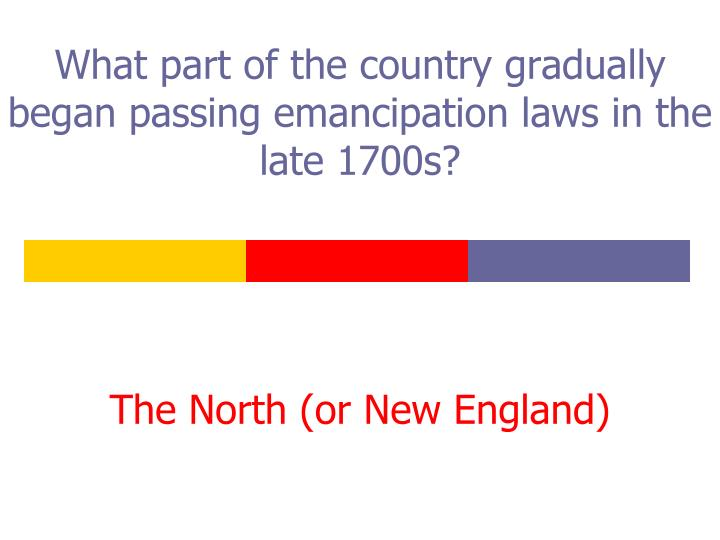 What part of the country gradually began passing emancipation laws in the late 1700s?