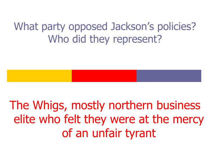 What party opposed Jackson's policies?  Who did they represent?