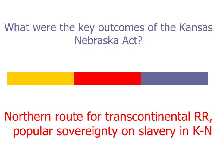 What were the key outcomes of the Kansas Nebraska Act?