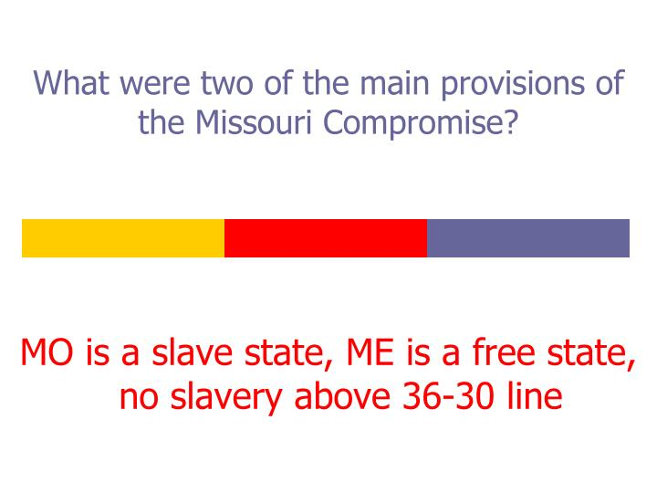 What were two of the main provisions of the Missouri Compromise?