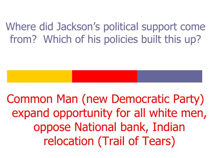 Where did Jackson's political support come from?  Which of his policies built this up?