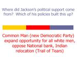 where did jackson s political support come from which of his policies built this up