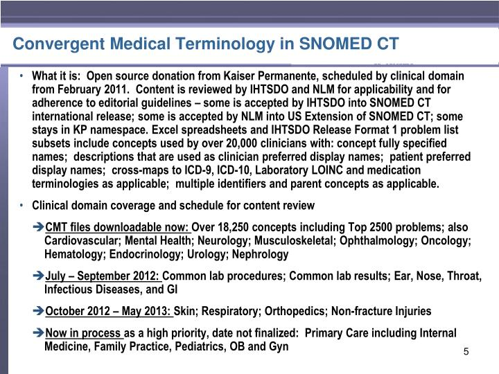 Convergent Medical Terminology in SNOMED CT