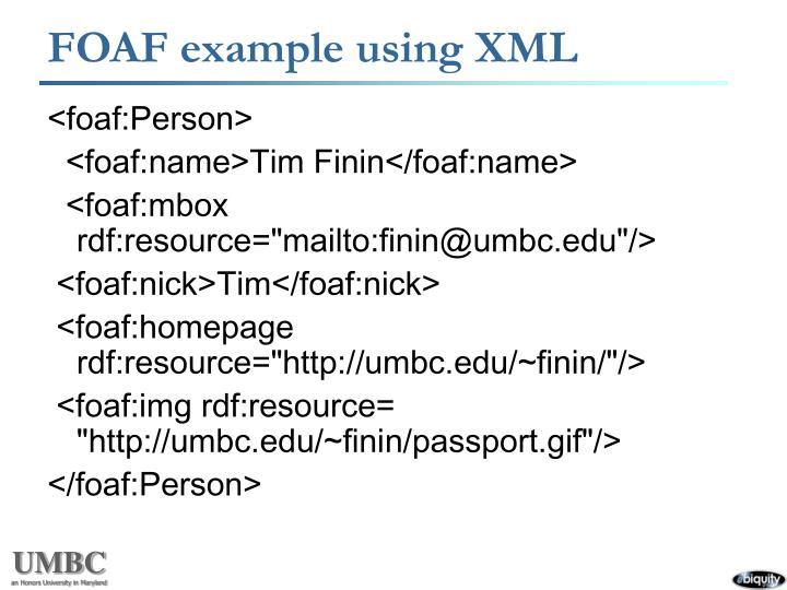 FOAF example using XML