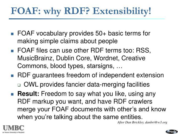 FOAF: why RDF? Extensibility!