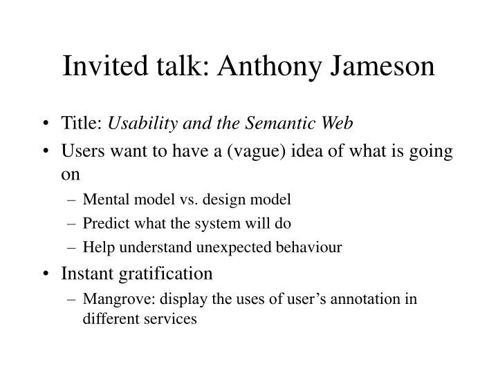 Invited talk: Anthony Jameson