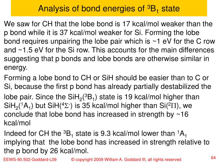 Analysis of bond energies of