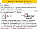 analysis of bonding in ch and sih