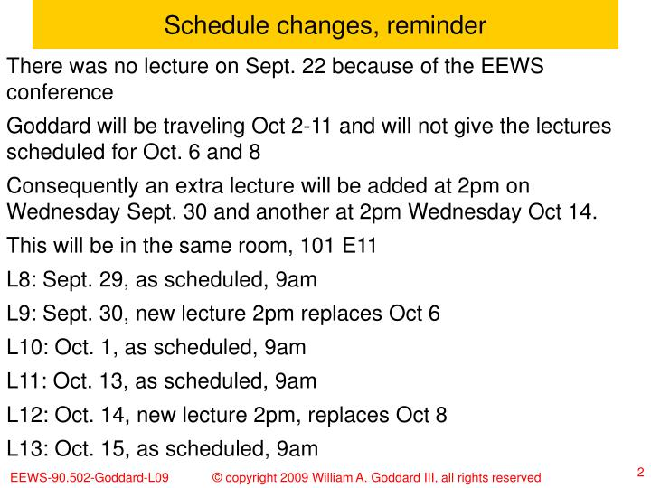 Schedule changes reminder
