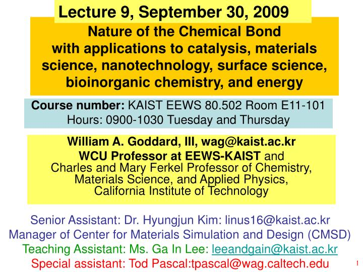 Lecture 9, September 30, 2009