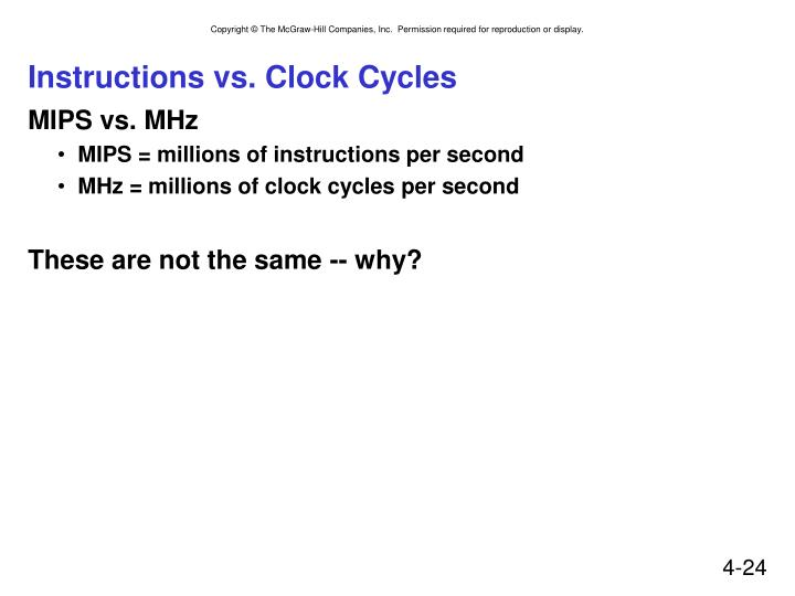Instructions vs. Clock Cycles