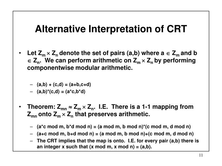 Alternative Interpretation of CRT