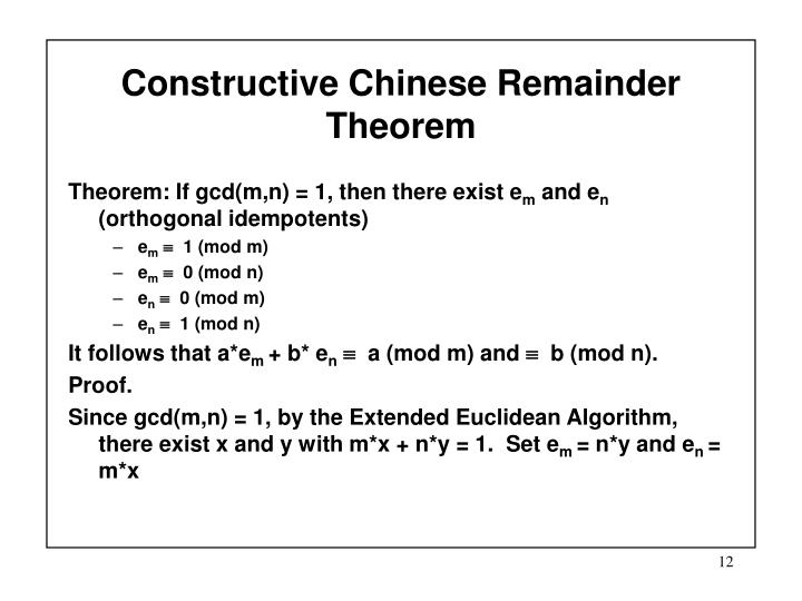Constructive Chinese Remainder Theorem