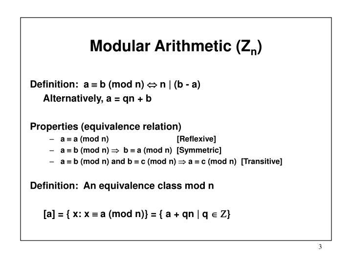 Modular Arithmetic (Z