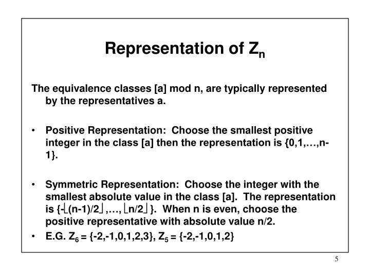 Representation of Z