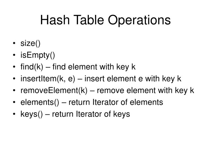 Hash table operations