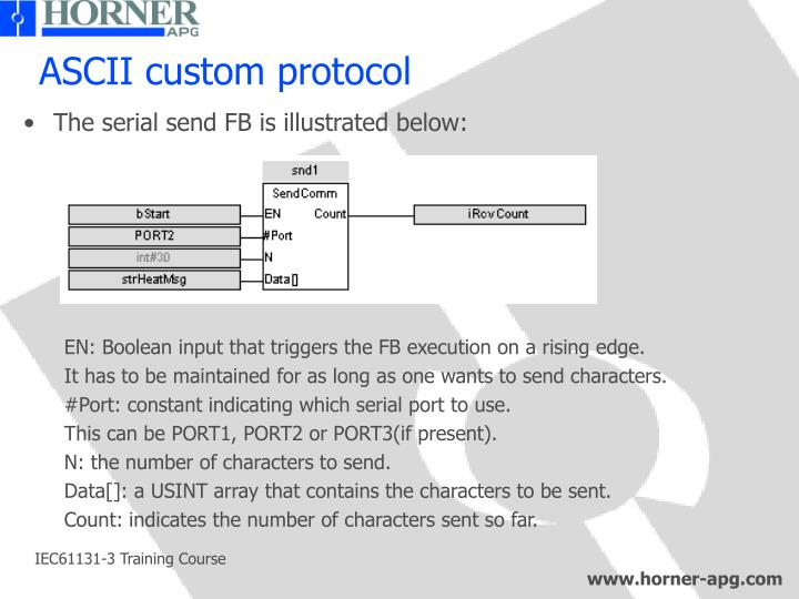 ASCII custom protocol