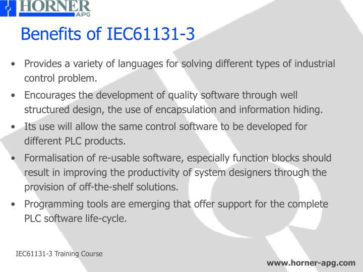 Benefits of IEC61131-3