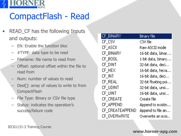 READ_CF has the following Inputs and outputs: