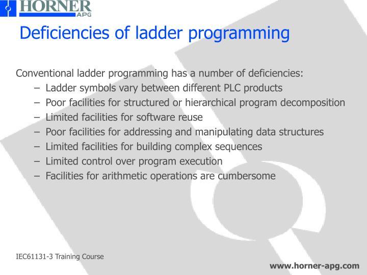 Deficiencies of ladder programming