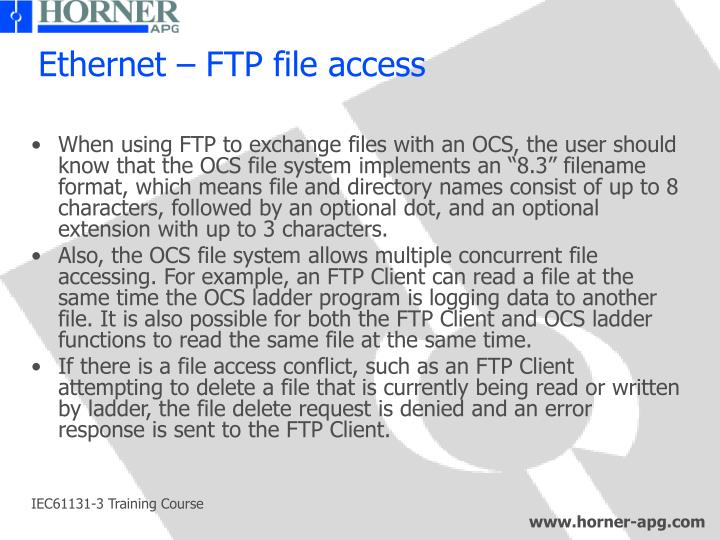 Ethernet – FTP file access