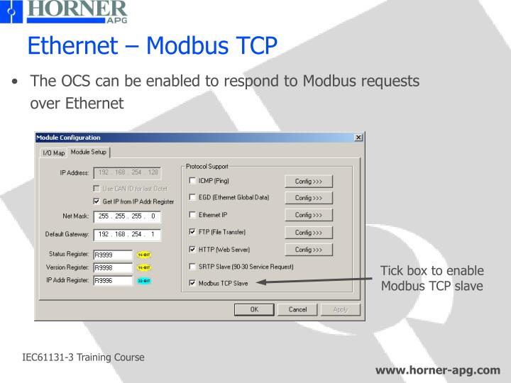 Ethernet – Modbus TCP