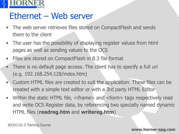 Ethernet – Web server