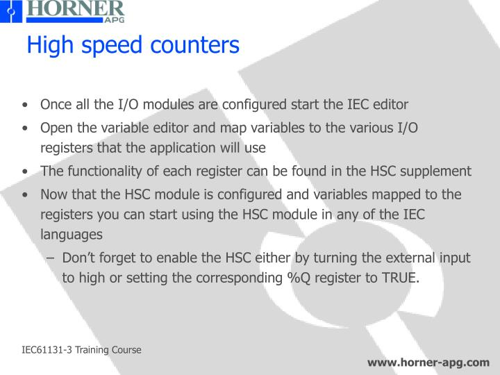 High speed counters