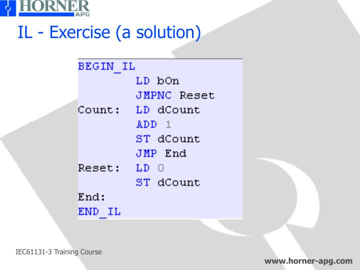 IL - Exercise (a solution)