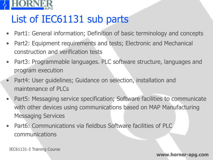 List of IEC61131 sub parts