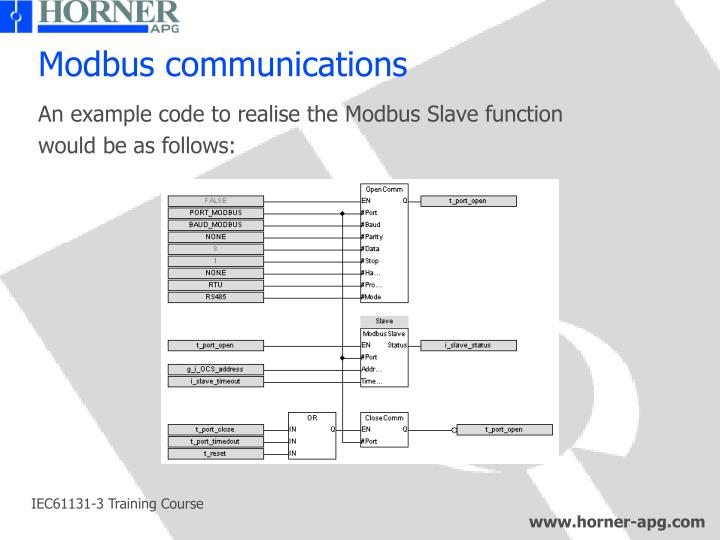 Modbus communications