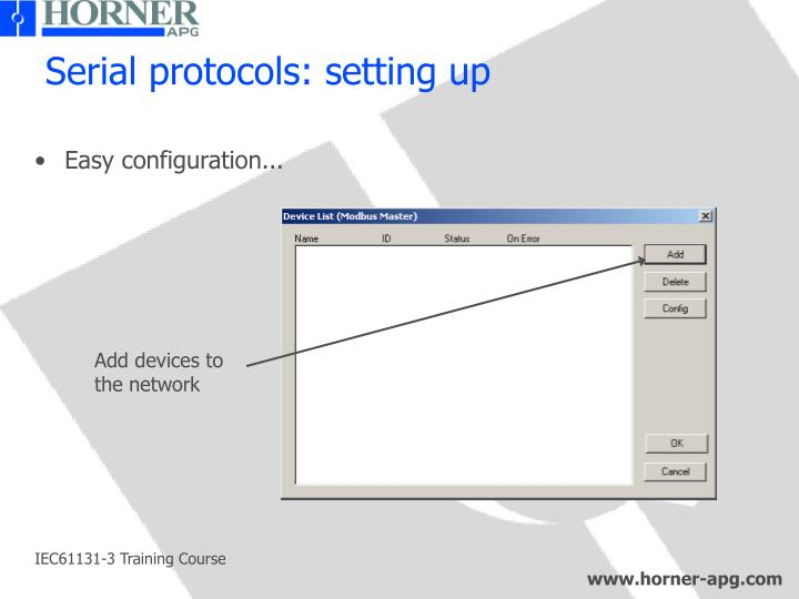 Serial protocols: setting up