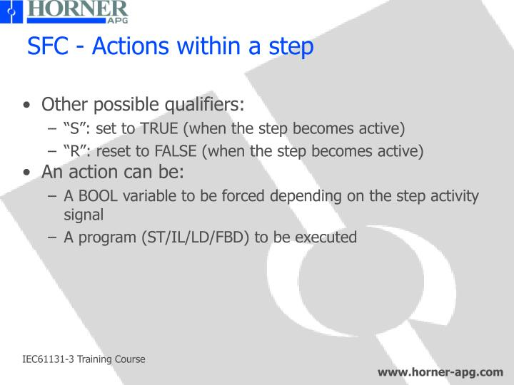 SFC - Actions within a step