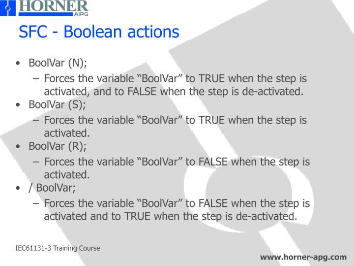 SFC - Boolean actions