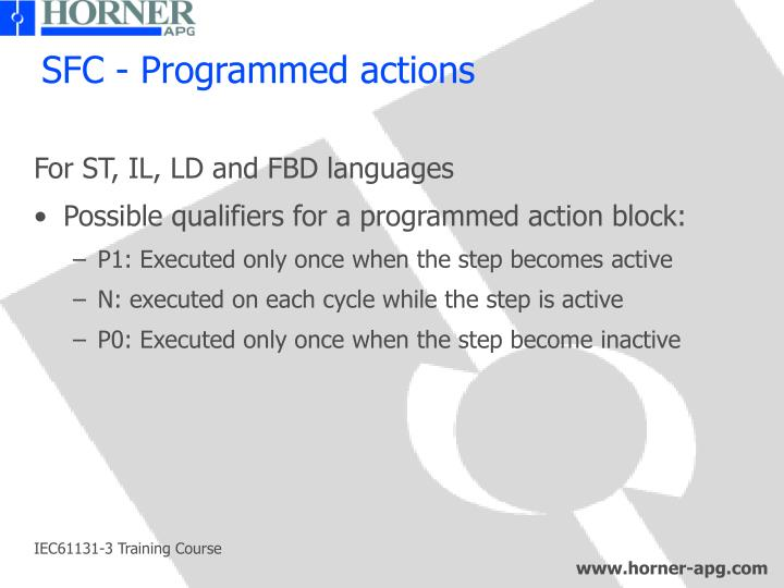 SFC - Programmed actions