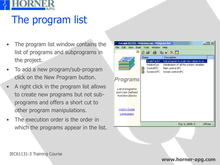 The program list