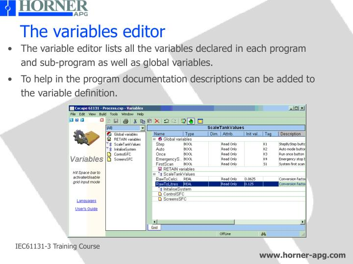 The variables editor