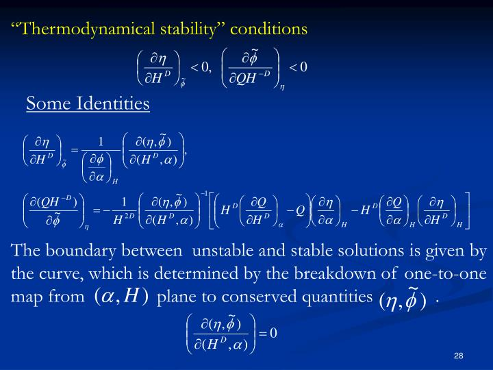 """Thermodynamical stability"" conditions"