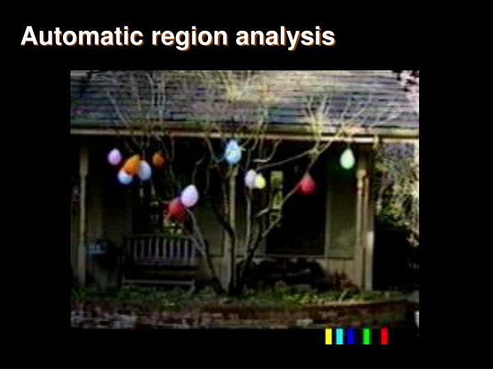 Automatic region analysis