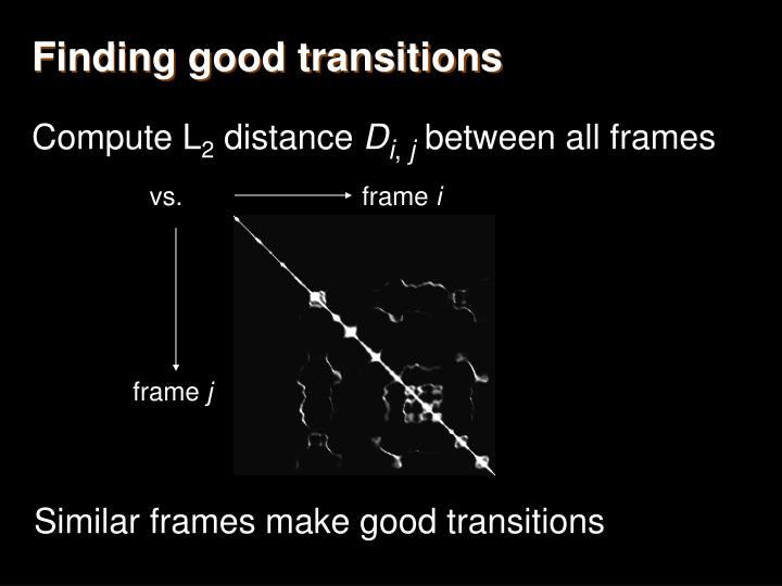 Finding good transitions