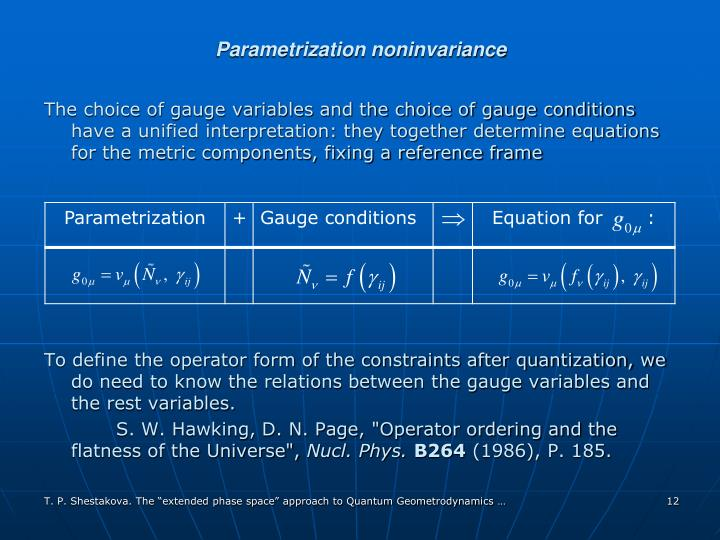Parametrization noninvariance